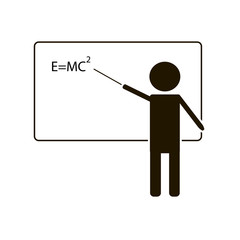 Training icon. Teacher at the blackboard. On a white background