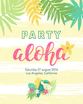 Tropical beach party banner template