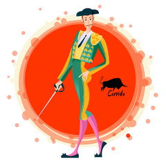 Matador with sword. Corrida de toros. Bullfighting.