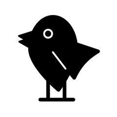 Bird simple vector icon. Black and white illustration of bird. Solid linear icon.