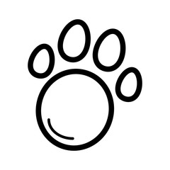 Pet paw simple vector icon. Black and white illustration of animal paw. Outline linear icon.