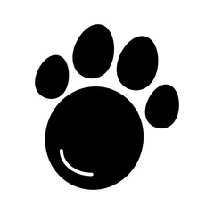 Pet paw simple vector icon. Black and white illustration of animal paw. Solid linear icon.
