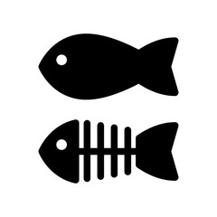 Fish and skeleton simple vector icon. Black and white illustration of fish bones. Solid linear icon.