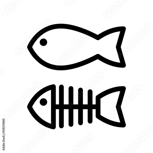 quot fish and skeleton simple vector icon black and white Fish Bone Clip Art Fish Bone Clip Art