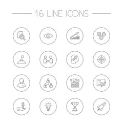 Set Of 16 Business Outline Icons Set.Collection Of Grid Structure, Research, Teamwork And Other Elements.