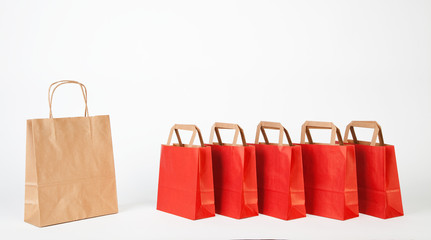 Red and brown shopping bags