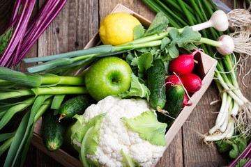 Organic  farm. Fresh vegetables in wooden crate