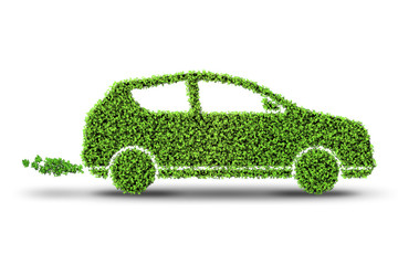 Electric green car isolated on the white background - 3D rendering