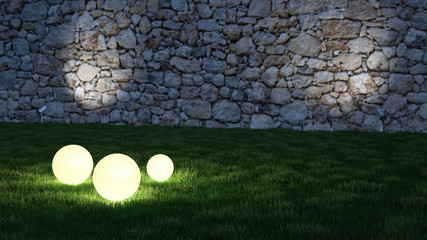 Glowing spheres in garden with wall in background