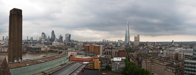 Panoramic City skyline of  London from a high viewpoint in Southwark, South of the River Thames.