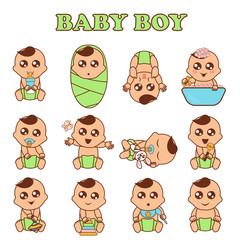 Baby boy set vector illustration. Cute boys in various poses and emotions in flat style.