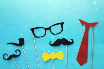 funny beard, glasses, mustache, tie and bow. Father's day concept