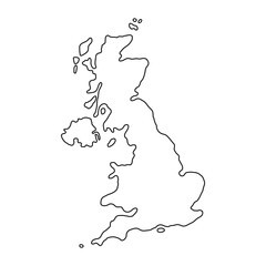 The United Kingdom of Great Britain and Northern Ireland map of black contour curves of vector illustration