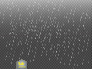 Rain transparent vector background. Falling water drops texture.Nature rainfall on checkered background illustration