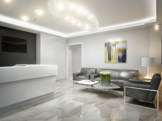 Gray White Urban Contemporary Modern Minimalism High-tech Reception Waiting Room in Office Interior Design. 3d rendering