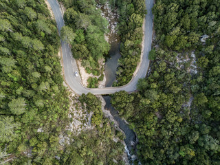 Aerial view of road in forest in Corsica
