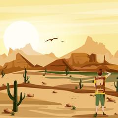 Landscape background desert with traveler, cacti, mountains and birds vector illustration.