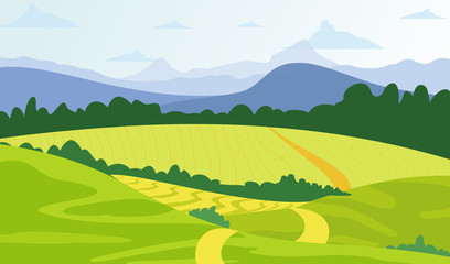Vector illustration green landscape background with yellow fields and mountains.