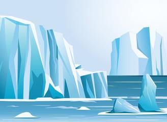Vector illustration arctic landscape iceberg and mountains. Winter background. Fototapete