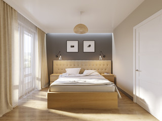 Modern Bedroom Interior Design with White Gray Walls, Soft Beige Curtains, Light Wooden Furniture and Large King size Bed. Scandinavian style interior. 3d illustration