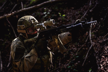 Portrait of soldiers on battlefield