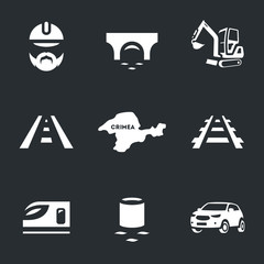 Vector Set of Bridge building Icons.