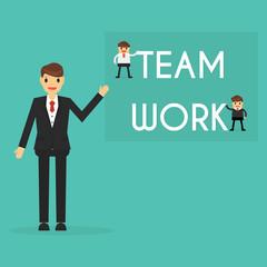 Businessman with teamwork concept. business concept