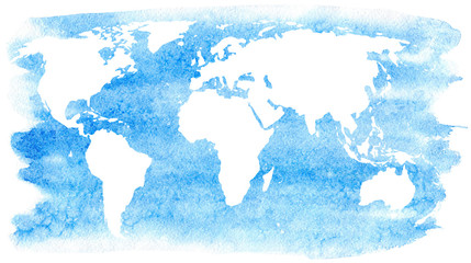 World map and ocean.Earth.Watercolor hand drawn illustration.White background.