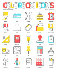 Color box icons, office tools backgrounds and graphics