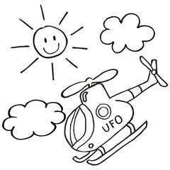 Helicopter and sun, vector icon, coloring page for children