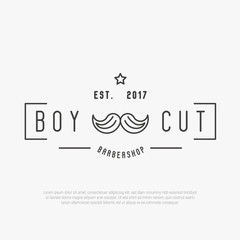 Hipster logo for barber shop with mustache. Minimalistic thin line vector illustration.