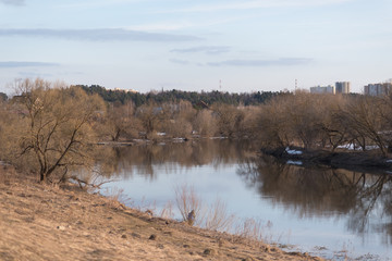 Moscow river in early spring.