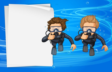 Paper template with two scuba divers