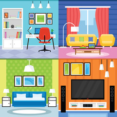 Home Interior Design for Living Room, Bedroom and Home Office Furnishing Set in a Flat Design