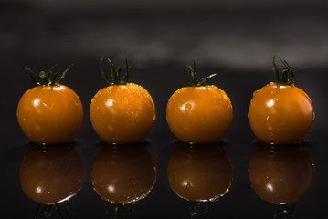 Yellow tomatoes on black background ,water drops , mirror