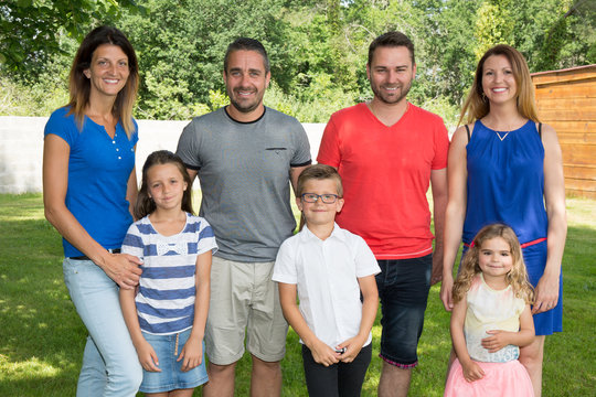 Family of seven with three children outdoor