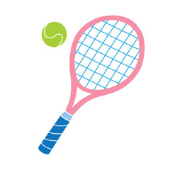 Pink tennis racket and ball vector icon.
