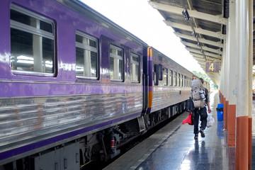 Young traveler man in railway