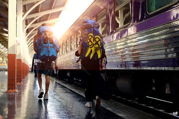 Young Couple lovers traveler  in railway.