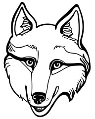 Vector illustration of wolf husky head black and white