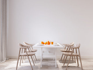 Spring morning Mock up wall dining room interior urban contemporary design. Scandinavian style interior. 3d rendering
