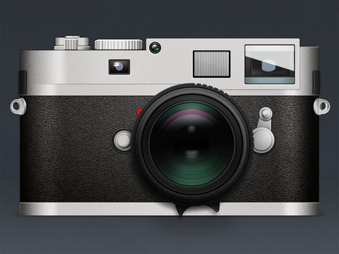 Illustration of camera Leica on gray background with reflection