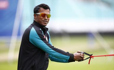 Bangladesh's Rubel Hossain during nets