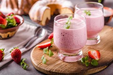 Acrylic Prints Milkshake Strawberries milkshake summer drink
