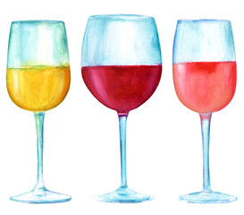 Glasses of white, red, and rose wine, isolated watercolors