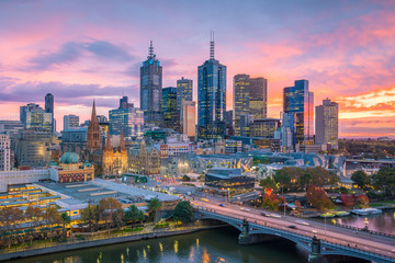 Fototapete - Melbourne city skyline at twilight