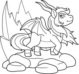 Cartoon pony dragon outline image
