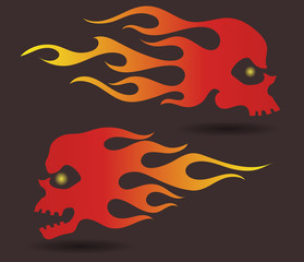 Red to yellow gradiently colored silhouettes of flaming skulls