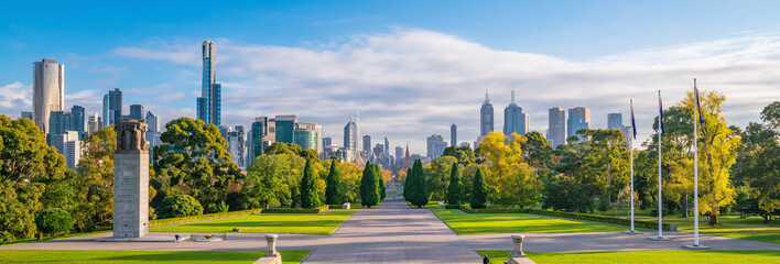 Skyline of Melbourne from Shrine of Remembrance