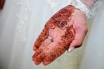 bride holding wedding ring